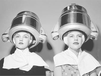 caída del uso de los secadores de casco